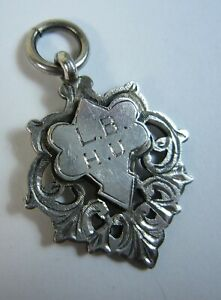 Antique 1912 English Sterling Watch Fob Ornate for Elsie Cox Speaking Prize $75.00