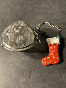 Silver Metal Round Tea Strainer Infuser w Hook Cup Hanger Chain Christmas Charm