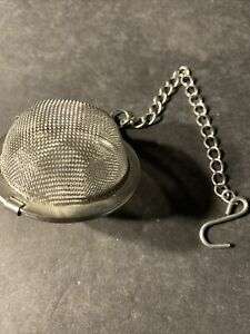 Silver Metal Round Tea Strainer Infuser w Hook Cup Hanger Chain Clasp Close