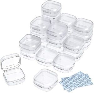 Small Box Plastic Bead Storage Container 24 Pc Organizers with Lids for Beads $10.49