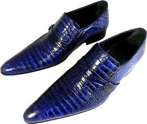 Chelsy Handmade Mens Shoe Slippers Leather Croc Blue Leather Sole $339.32