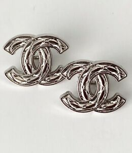 Silver Tone Stamped Chanel CC 16mm Buttons $32.00