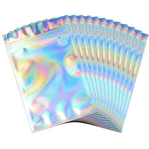 50 200pcs Holographic Mylar Foil Flat Ziplock Bag Double Sided Smell Proof Pouch