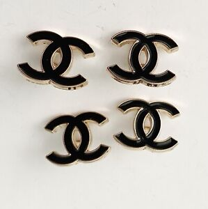 4 Black Chanel CC Buttons Stamped $48.00