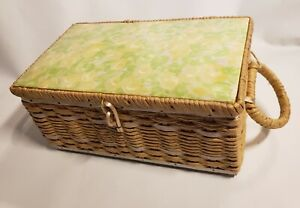 Vintage Dritz Sewing Basket Box 1950s 1960s Wicker Japan RARE Yellow Floral $15.00