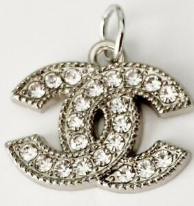 Stamped Silver Chanel Cc Zipperpull Button Charm Pendant Approx 18mm $29.00