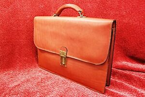 Vintage Schlesinger Brothers Full Grain Cowhide Belting Leather Classic Flapover $165.00