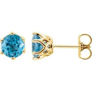 14k Yellow Gold Swiss Blue Topaz Round 6 Prong Woven Earrings $369.00