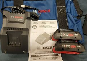 Bosch GBA18V40 18V 4.0Ah Lithium Ion Battery Pack 2 Pack with charger amp; bag $99.98