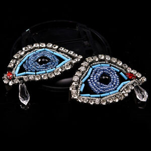 1Pair Rhinestone eye Beaded Patch for Clothing Sewing on Beading Applique DIY`CA C $3.56
