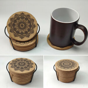 Creative Cup Mat Round Shape Wooden Nordic Mandala Design Coaster With Rack C $11.34