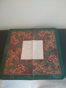 12 Dinner Napkins 16 inch square Scrolls and Leaves pattern Christmas Holiday
