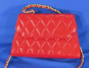I MAGNIN Vintage RED QUILTED BOX PURSE Evening Small Bag GOLD CHAIN STRAP LkNw $16.20