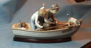 Lladro #5215 Fishing With Gramps With Wood Base