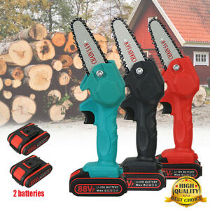 88V Electric Cordless Saw Woodworking Chain Saw Wood Cutter One Hand Mini US