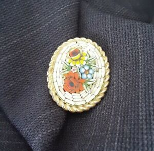 Italian Micro Mosaic Pin a real piece of art. Beautifully crafted $25.00
