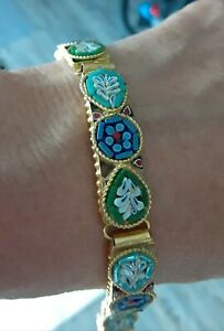 Vintage Italian Micro Mosaic Bracelet a real piece of art. Beautifully crafted. $40.00