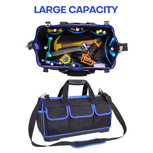 18 20 Wide Mouth Tool Bag Heavy Duty Carry Tote Storage w Strap Molded Base