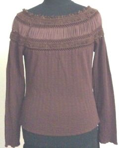 Dolce Cabo Womens Brown Top Blouse Long Sleeve Knit Overlay Scoop Neck Size PL $20.60