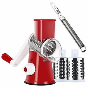 Ourokhome Cheese Grater Lemon Zester Red Rotary Vegetable Grater and White ...