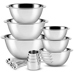 Stainless Steel Mixing Bowls 14 Piece Bowl Set with Measuring Cups and Spoons $27.99