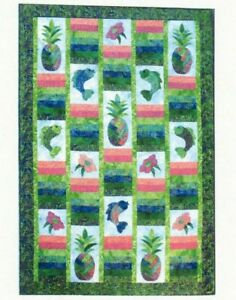 Under the Rainbow Sewing Wall Quilt Pattern Pineapple Flowers Leaves Fish Batiks $10.99