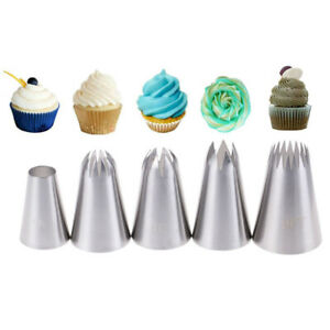 5x Large Russian Icing Piping Pastry Nozzle Tips Cake Decorating Tool Nozzles Ta