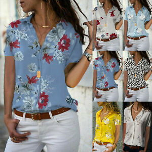 Womens Floral Print Short Sleeve Button Down Blouse Ladies Loose Tops Tee Shirts $14.19