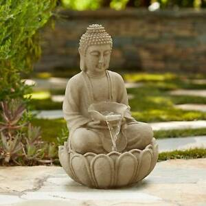 Buddha Zen Outdoor Water Fountain with Light LED 22 for Garden Patio Yard House