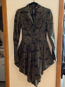 Betsey Johnson Unique Runway Collection Open Back Lace Up Coat $225.00