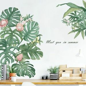 Wall Stickers Style Pink Flower Eco Friendly Vinyl Green Leaf Murals Home Decor $19.99