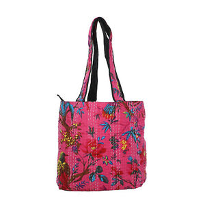 Light Pink with Multi Color Kantha Theme 100% Fabric Tote Bag with Handle Drop
