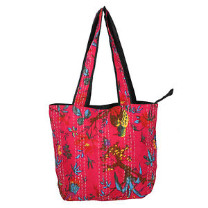 Pink with Multi Color Kantha Theme 100% Fabric Tote Bag with Handle Drop