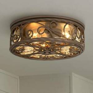 Outdoor Ceiling Light Fixture Iron Scroll 12 Champagne Glass for Exterior Porch
