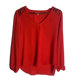 Lily White Women's Red Top Long Sleeve Size Large $18.00