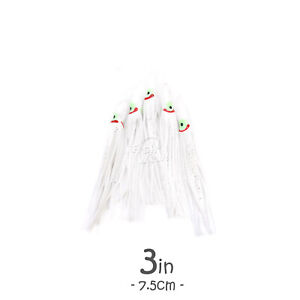 3quot; White Fish WOW ® Squid Skirt Octopus Hoochies Fishing Soft Lures 7.5cm lot