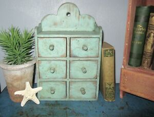 6 Drawer Wooden Vintage Spice Cabinet Box Cupboard Apothecary Chest Blue Paint $128.00