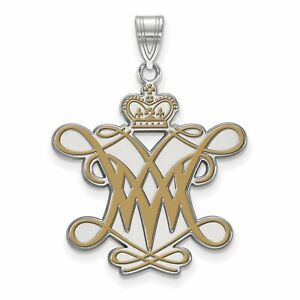 Sterling Silver Rh plated LogoArt William And Mary XL Enamel Pendant