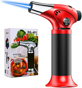 Butane Torch Culinary Blow Torch Refillable Mini Kitchen Cooking Torch Red