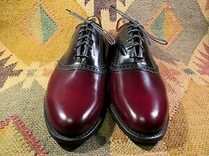 DEXTER TWO TONE CORDOVAN BLACK SADDLE OXFORD SHOES SIZE 9 N MADE IN USA NEW $200.00