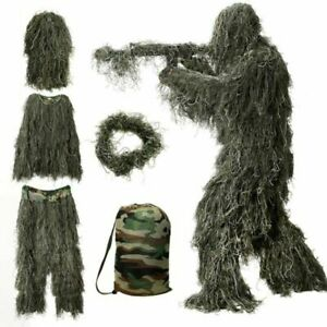 Kids Ghillie Camouflage Suit Woodland Tactical Hunting Clothes Adjustable Waist