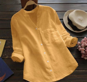 Summer womens clothing tops cotton and linen solid color casual shirts $49.99
