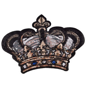 Large Crown Patch Badge Cartoon Sequin Iron On Sewing On For Clothes Sticker Ni $6.98