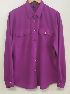 Ralph Lauren Purple Silk Button Front Long Sleeve Collared Top Blouse Size Large $19.00