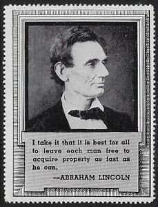 Rare USA 1920s Poster Stamp: Early Abraham Lincoln Property Quotation dw465c $2.50