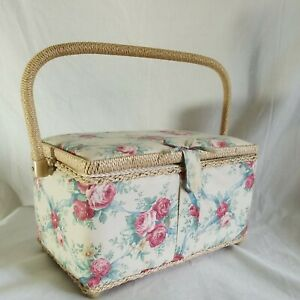 Vintage Sewing Basket Box Shabby Woven Floral Fabric Roses Rattan Handle Trim $26.00