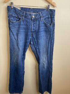 Hollister Mens Boomer Low Rise Slim Boot Button Fly Blue Jeans Size 32x30 $27.97