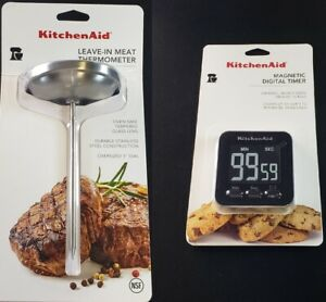 KitchenAid Magnetic Digital Timer and Leave In Meat Thermometer Set L004 $11.99