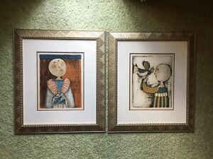 Two Graciela Rodo Boulanger Signed lithographs. Bird In Cage And Bird On Hand $270.00