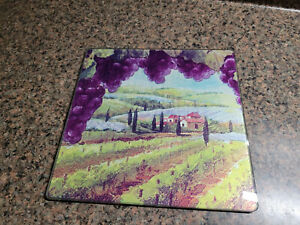8quot; Square Cutting Board Trivet Wine Grapes Design Glass Tuscany View $8.99